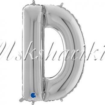 """Фольга БУКВА D 26"""" Silver (Серебро)"""