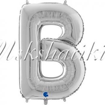 """Фольга БУКВА В 26"""" Silver (Серебро)"""