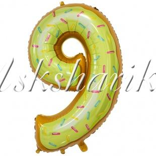 Шар фольга (34''/86 см) Цифра, 9 Пончик