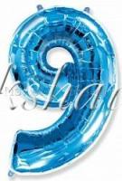 "Шар фольга ""Цифра 9"" Синяя 102 см"