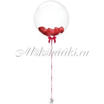 """Шар Bubble с шарами """"Красные на атласной ленте"""""""