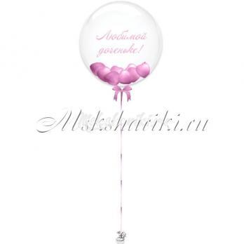 "Шар Bubble с шарами""Розовые на атласной ленте+надпись"""