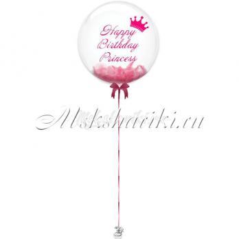 """Шар Bubble с перьями """"Розовые с надписью +корона"""""""