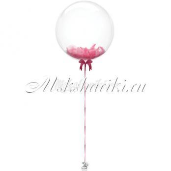 """Шар Bubble с перьями """"Розовые на атласной ленте"""""""