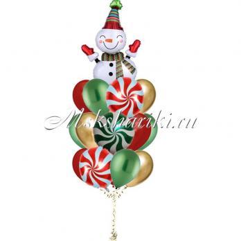 """Букет из шаров """"Веселый снеговик с конфетами"""""""