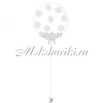 """Шар Bubble с перьями """"Белые +снежинки"""""""