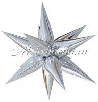 Фольгированный шар (26''/66 см) Фигура, Звезда составная, Серебро