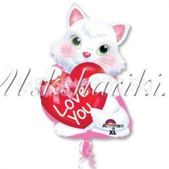 Шар фигура ILY Котенок с сердцем