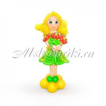 """Фигура из шаров """"Девочка в зелёном платье"""""""