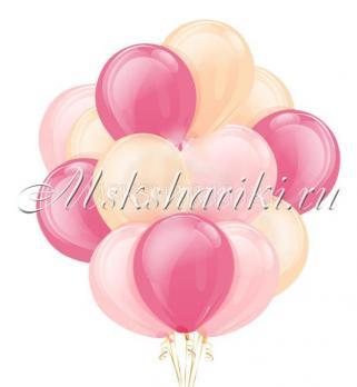 """Облако из шаров """"Розово-персиковый""""14дм-36см"""