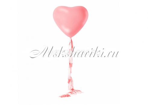 "Большой шар  ""Сердце розовое на тассел гирлянде"""
