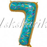 Шар фольга Шар (34''/86 см) Цифра, 7 Пончик Цифра, 7 Пончик