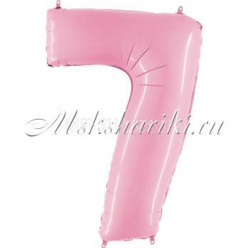 """Шар """"Цифра 7"""" Розовая пастель"""
