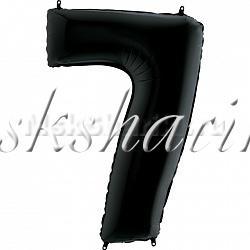 "Шар фольга  ""Цифра 7"" Черная 102 см"