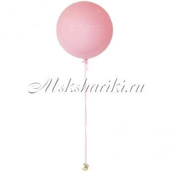 """Большой шар """"Розовый на атласной ленте"""""""