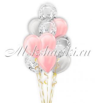 "Фонтан из шаров ""Розово-серебристые""14дм-36см"
