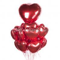 """Букет из шаров """"Сердца красные фольга"""""""