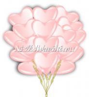 Облако розовых шариков сердечек Премиум 12 дм-35 см