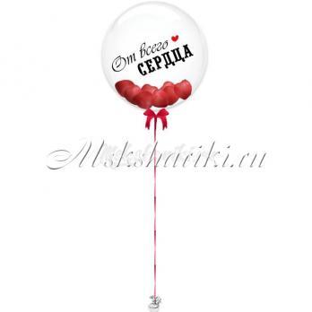 """Шар Bubble с сердцами""""Красные +надпись"""""""