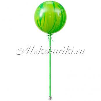 "Большой шар ""Агат зелёный на атласной ленте"""