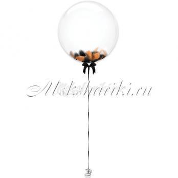 """Шар Bubble с перьями """"Чёрно-оранжевые на атласной ленте"""""""