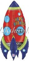 Шар (36''/91 см) Фигура, 3D Ракета, С Днем Рождения!