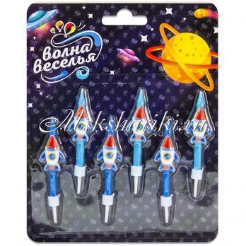 Свеча Фигура, Космические ракеты, Синий, 6 см, 6 шт