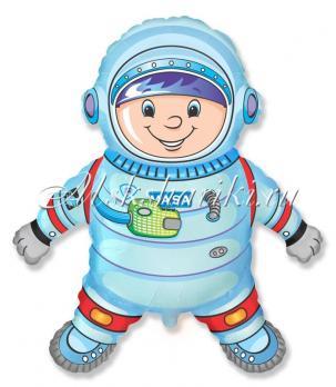 Фольгированный шар (40''/102 см) Фигура, Космонавт, Голубой