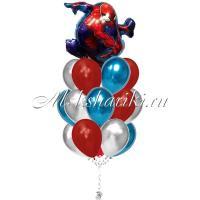 """Букет шаров """"Человек паук в полёте с шарами хром """""""