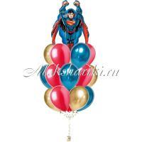 """Букет шаров """"Супермен в полёте """""""