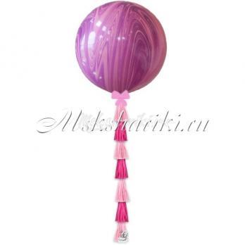 """Большой шар """"Агат розово-фиолетовый с тассел в цвет"""""""