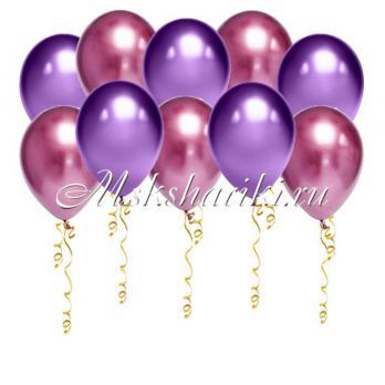 """Шары под потолок """"Фиолетово-розовые с хром"""""""