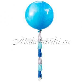 """Большой шар """"Агат сине-голубой на тассел микс"""""""