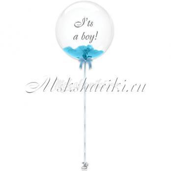 """Шар Bubble с перьями """"Голубые на атласной ленте+надпись"""""""