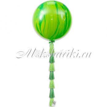"""Большой шар """"Агат зелёный на тассел в цвет"""""""