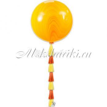 """Большой шар """"Агат жёлто-оранжевый на тассел """""""