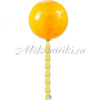 """Большой шар """"Агат жёлто-оранж на тассел жёлтый"""""""