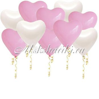 """Шары под потолок """"Сердца бело розовые"""" 12 дм -35 см"""
