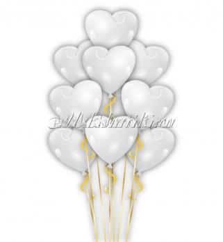 """Фонтан из шаров """"Сердца белые""""12дм-35см"""