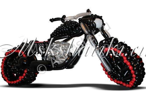 """Фигура из шаров """"Мотоцикл чёрно-красный"""""""