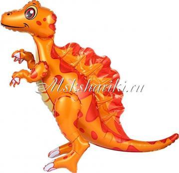 Шар (30''/76 см) Ходячая Фигура, Динозавр Спинозавр, Оранжевый