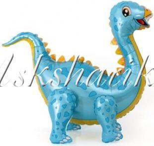 Шар (39''/99 см) Ходячая Фигура, Динозавр Стегозавр, Голубой