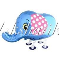 Воздушный шар (28''/71 см) Ходячая Фигура, Слоник, Синий