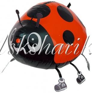 Воздушный шар (21''/53 см) Ходячая Фигура, Божья коровка, Красный
