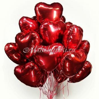 """Облако шаров """"Красные фольгированные сердца""""18 дм-46 см"""