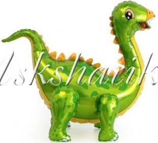 Шар (39''/99 см) Ходячая Фигура, Динозавр Стегозавр, Зеленый