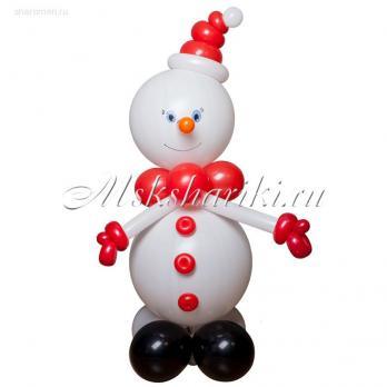 """Фигура из шаров """"Снеговик в красном"""""""