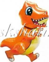 Шар (30''/76 см) Ходячая Фигура, Маленький динозавр, Оранжевый