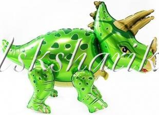 Шар (36''/91 см) Ходячая Фигура, Динозавр Трицератопс, Зеленый