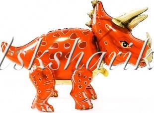 Шар (36''/91 см) Ходячая Фигура, Динозавр Трицератопс, Оранжевый
